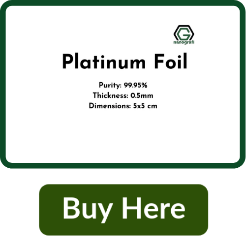 Platinum Foil, Purity 99.95%, Thickness: 0.5mm, 5x5 cm